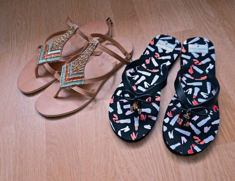 Kate Spade Frill flip flops and Cocobelle Arrow sandals