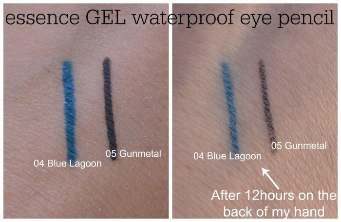 essence gel eye pencil waterproof 05 gunmetal 06 blue lagoon swatches