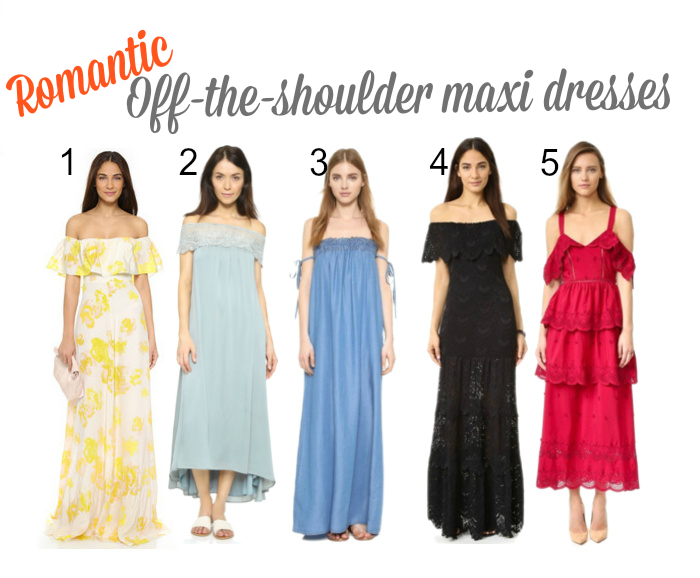 romantic off-the-shoulder maxi dresses