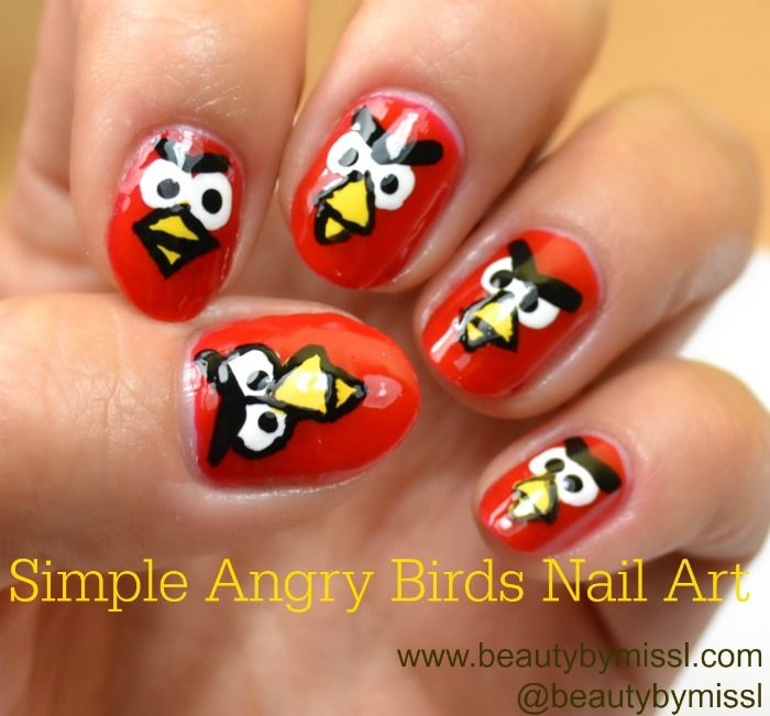 NOTD+tutorial: Simple Angry Birds Nail Art