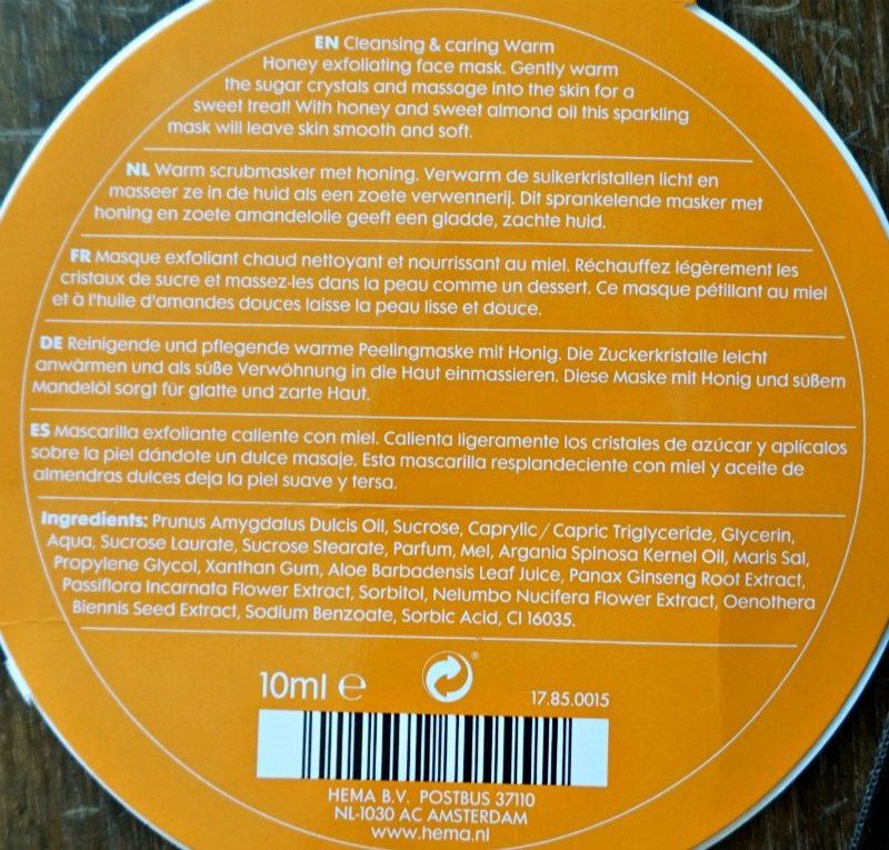 HEMA Warm Honey Exfoliating Face Mask ingredients