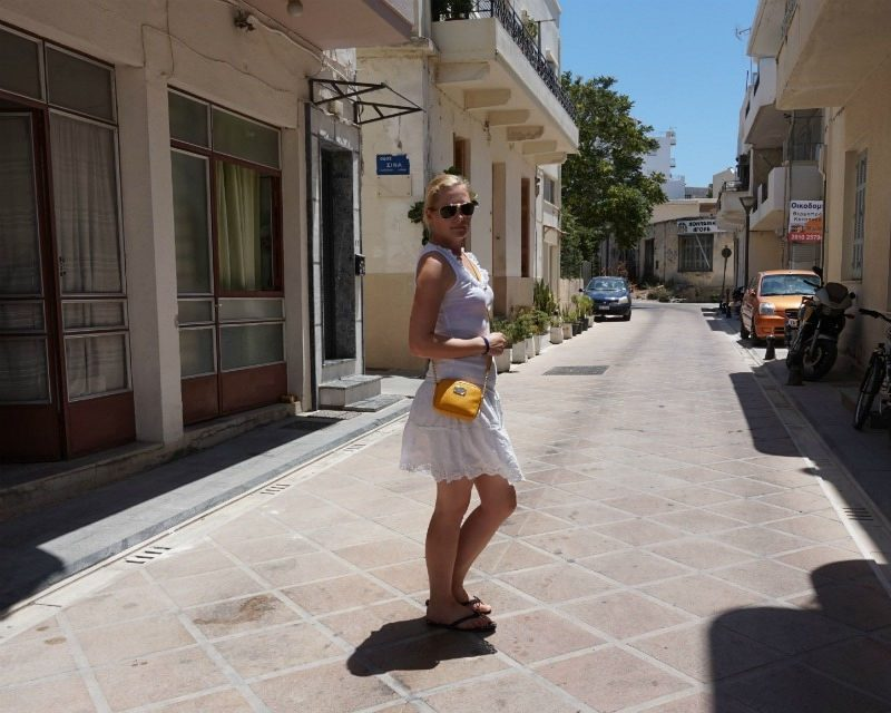 Takko white skirt, Miss Fiori frill top, Kate Spade flip flops, Michael Kors crossbody bag, Oakley sunglasses