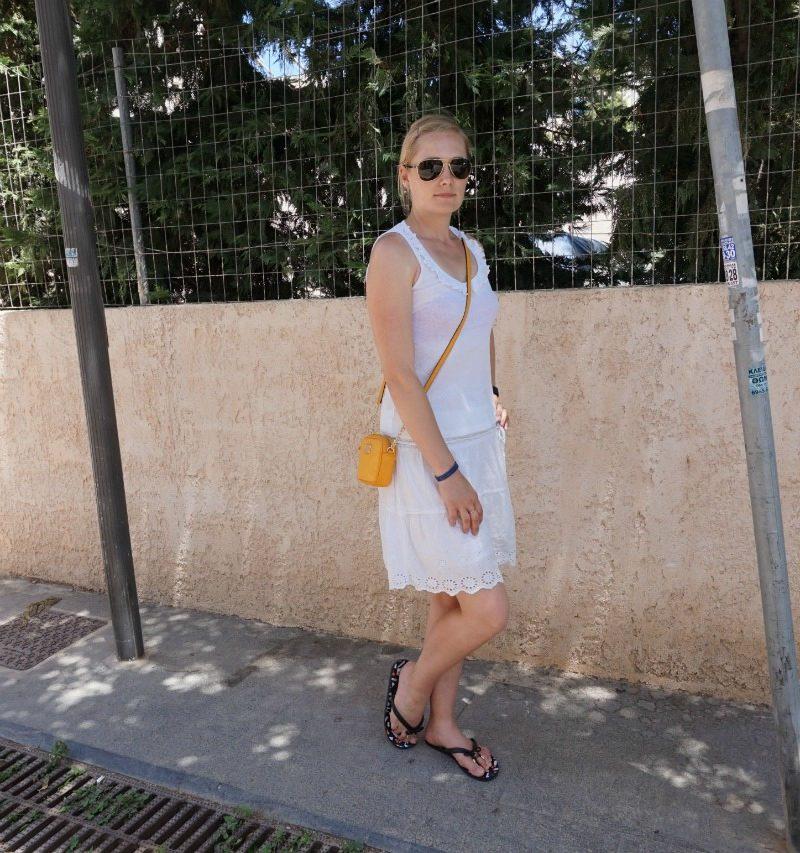 Takko white skirt, Miss Fiori frill top, Kate Spade flip flops, Michael Kors crossbody bag