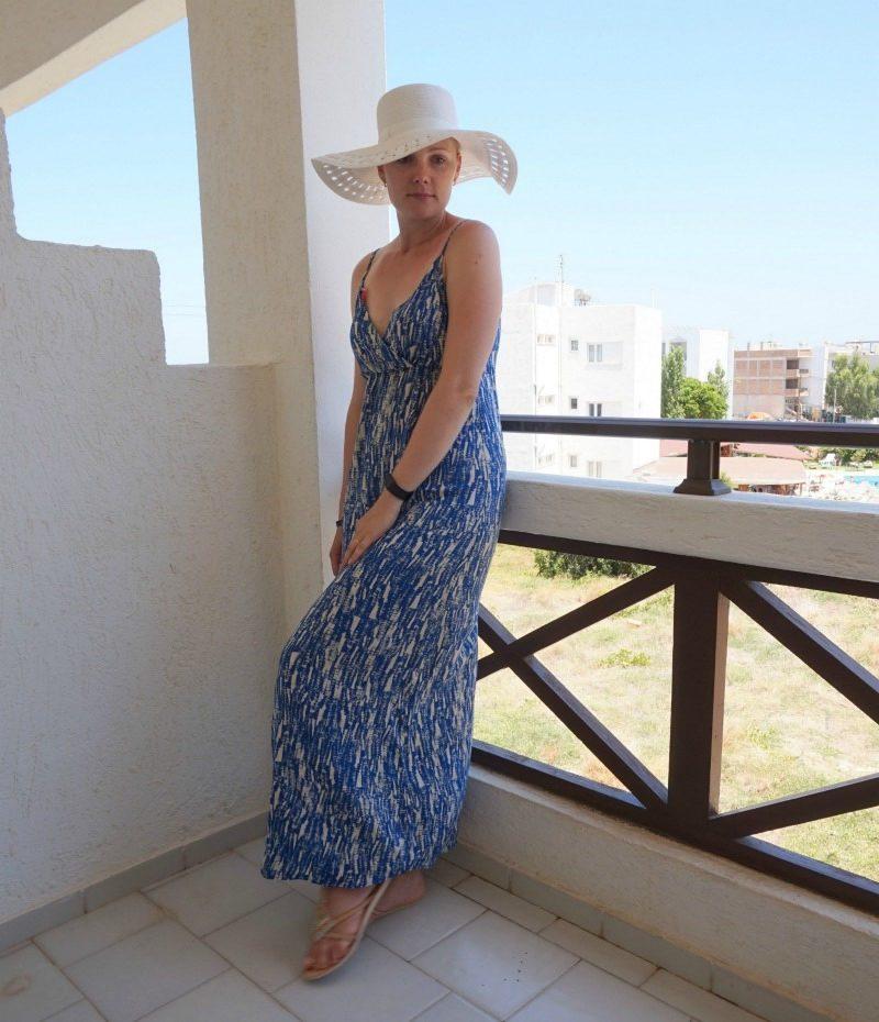 Vero Moda maxi dress, Accessorize hat, Cocobelle sandals