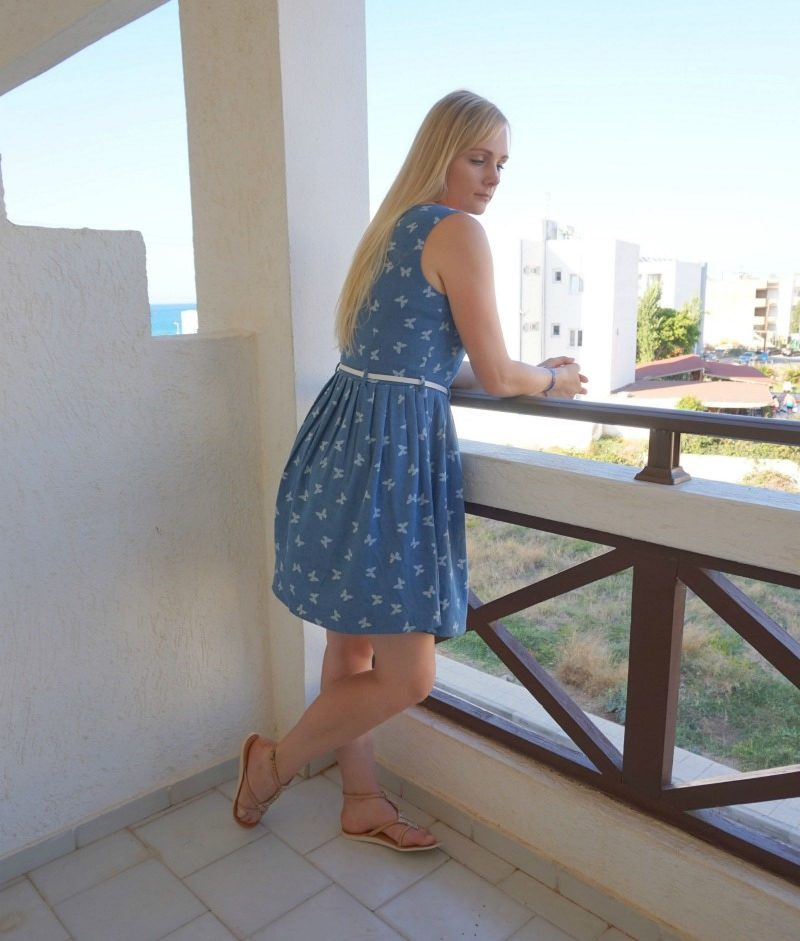 Yumi Belted Butterfly Dress in Chambray Cocobelle Arrow sandals