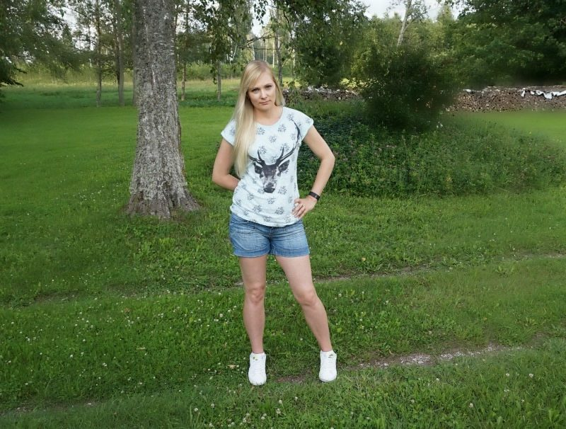 s.Oliver denim shorts, Worn By Christmas Antler Boyfriend T-Shirt and Nike trainers.
