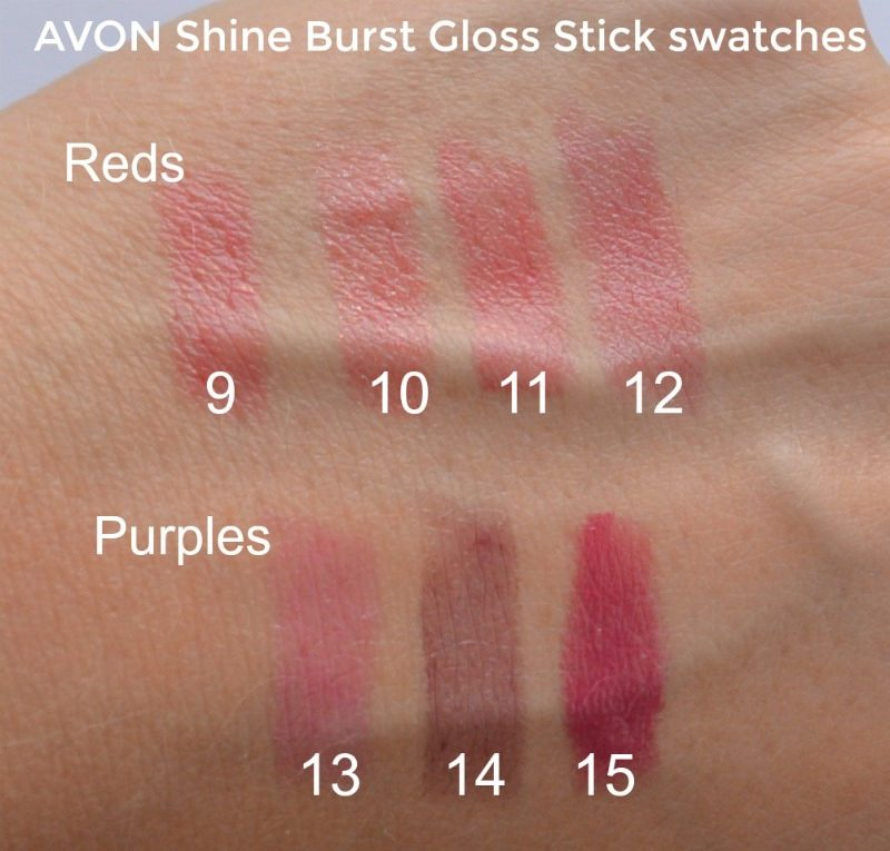Avon Shine Burst Gloss Stick swatches. Berry Burst, Raspberry Glaze, Stawberry Blush, Grapefruit, Fresh Fuchsia, Plum Shock, Vivid Cherry