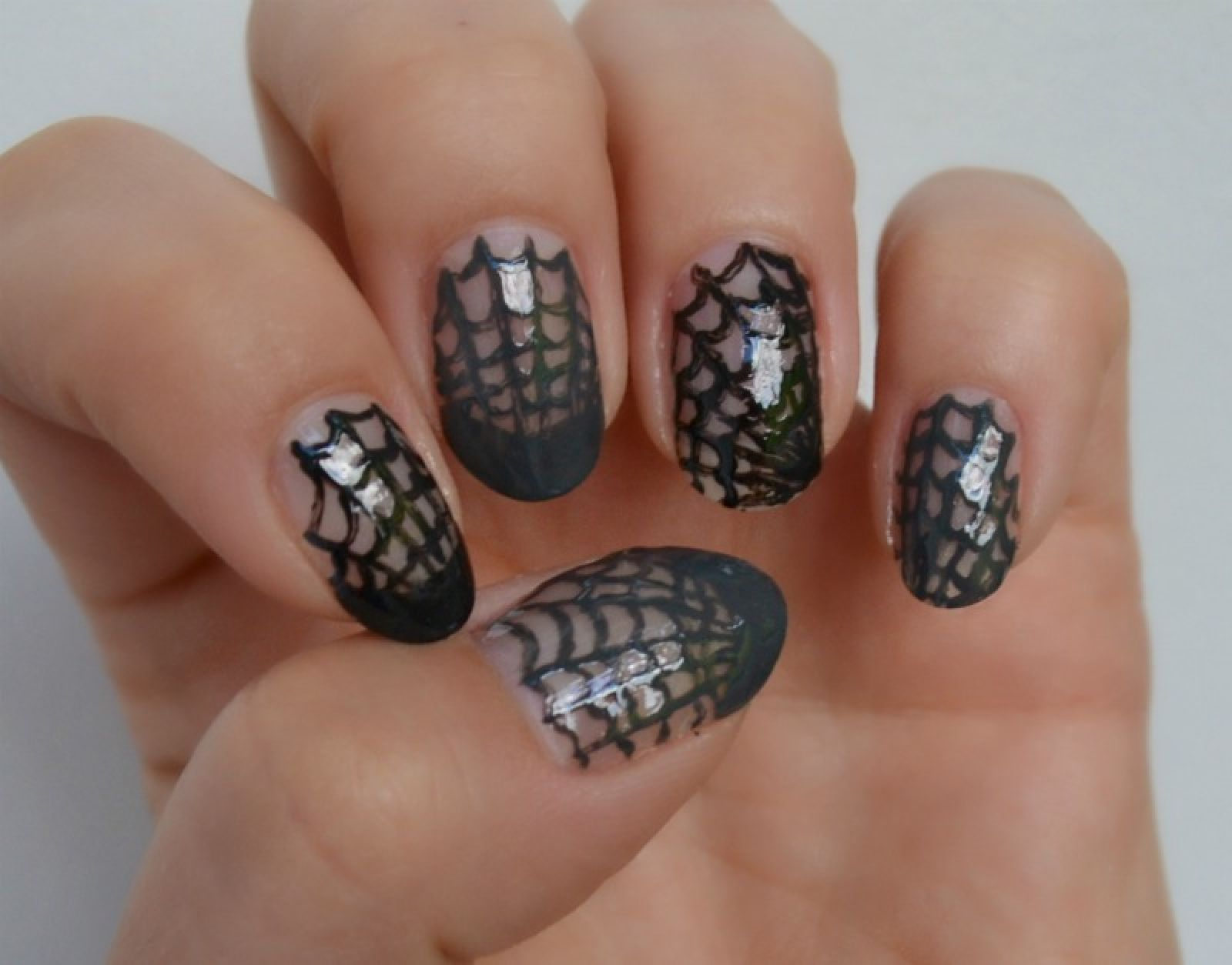Simple Halloween nail art idea - spider web nail art