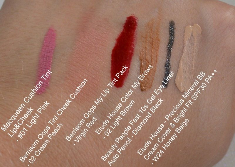 YesStyle Korean Beauty Sample Box swatches
