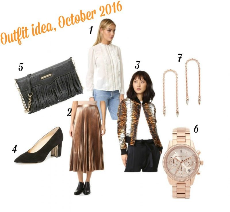 outfit idea featuring metallic pleated skirt and sating bomber jacket