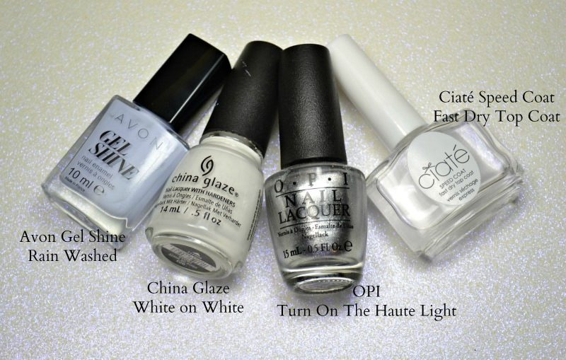 Avon Gel shine Rain Washed China Glaze White on White OPI Turn On The Haute Light Ciaté Speed Coat Fast Dry Top Coat