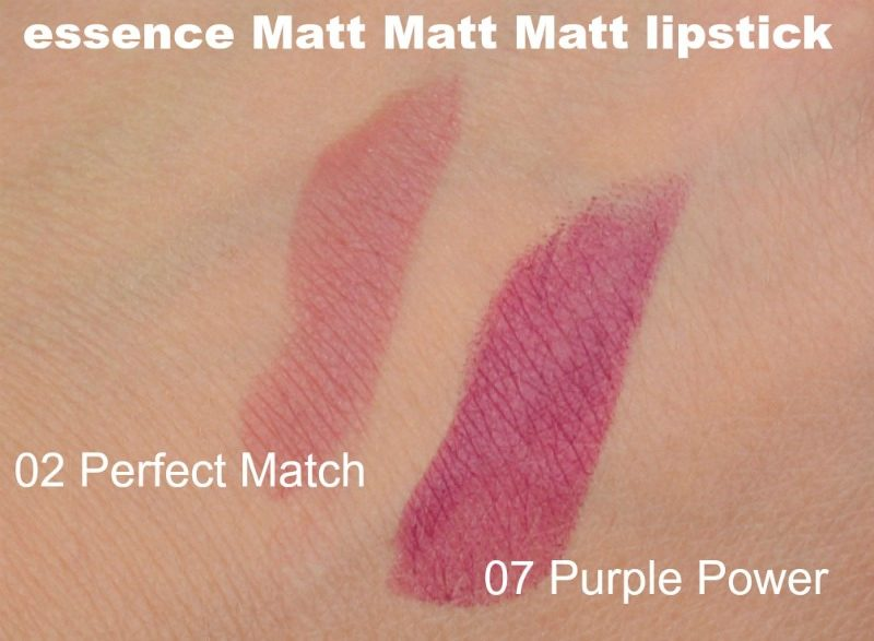 Essence Matt Matt Matt lipstick 02 Perfect Match & 07 Purple Power swatches