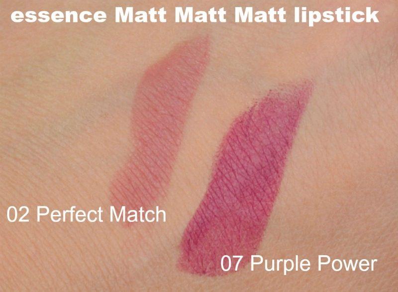 Essence Matt Matt Matt lipstick 02 Perfect Match & 07 Purple Power swatches