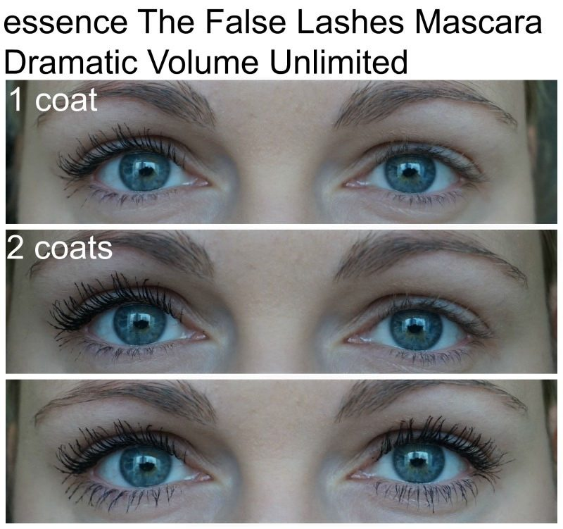 Essence The False Lashes Mascara Dramatic Volume Unlimited before after