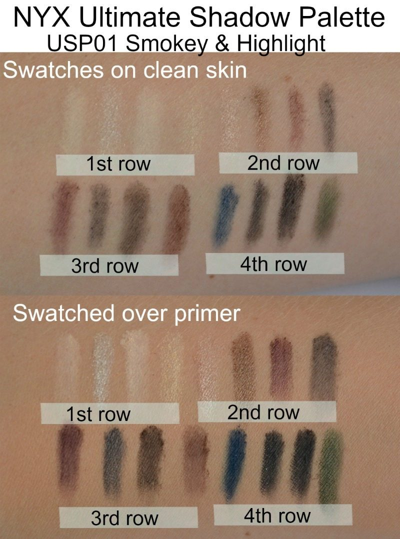 NYX Ultimate Shadow Palette Smokey & Highlight swatches