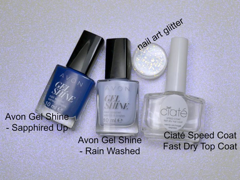 avon gel shine nail polishes, Ciaté Speed Coat Fast Dry Top Coat, nail art glitter