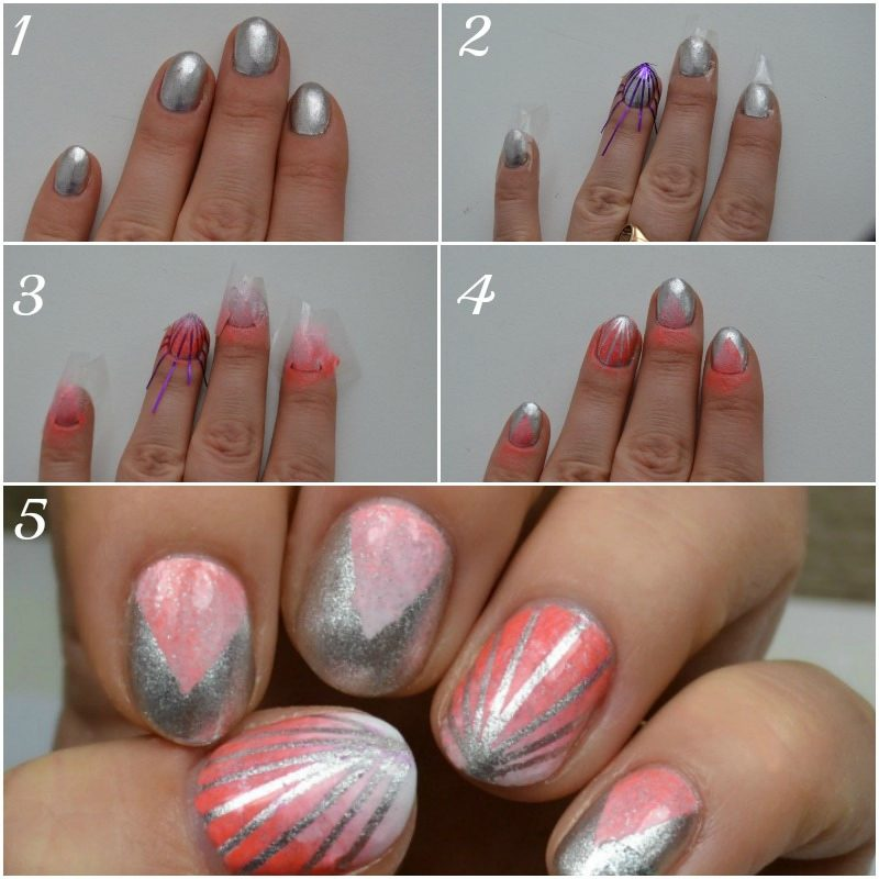 how to Stripes and gradient nails
