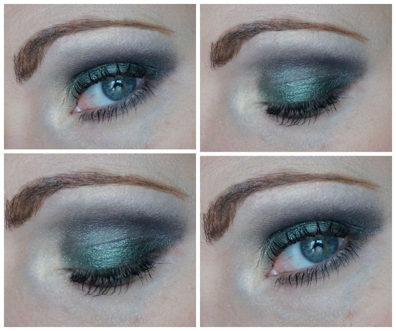 Green and black eye makeup