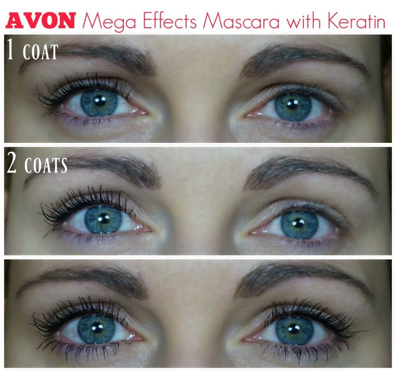 avon Mega Effects Mascara with Keratin before after