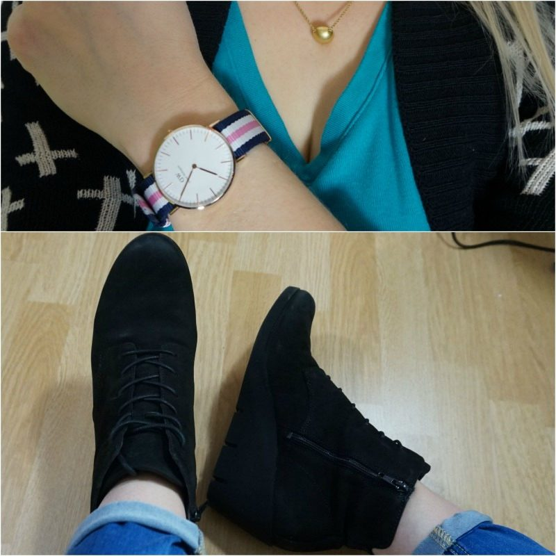 Daniel Wellington watch Ecco Bella wedge booties