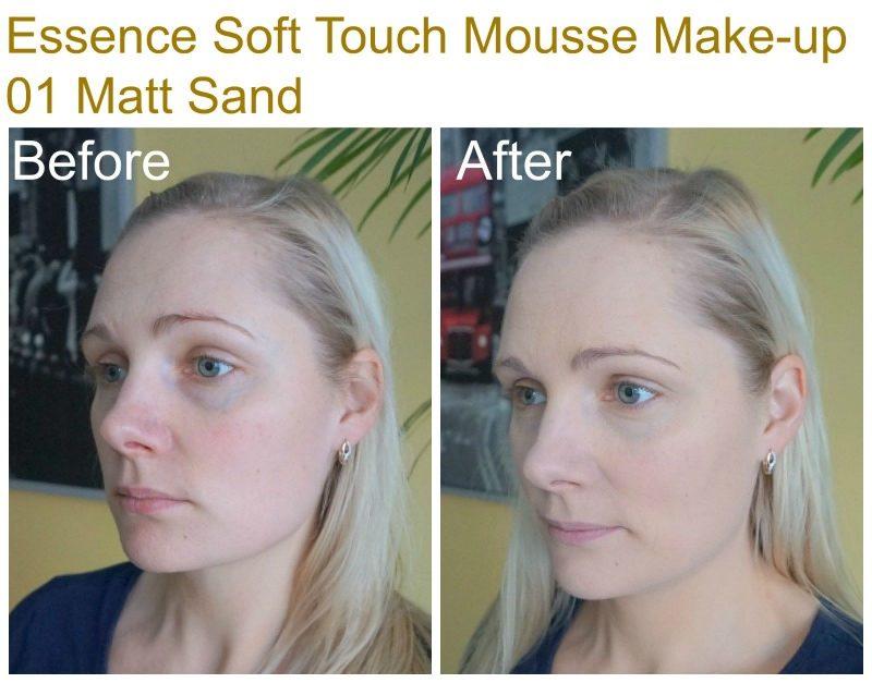 Essence Soft Touch Mousse Make-up - 01 Matt Sand before after