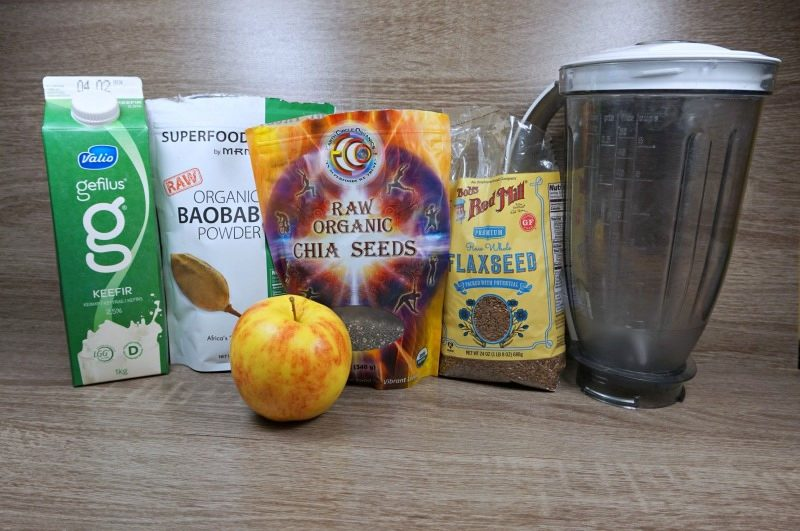 Healthy Kefir Apple Smoothie with Chia and Flaxseed and Baobab powder