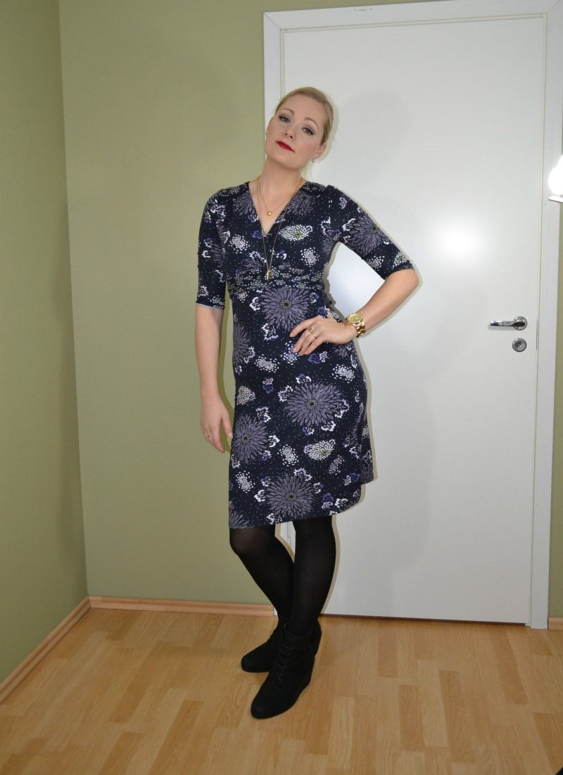 Marks & Spender Jersey dress and Ecco wedge booties