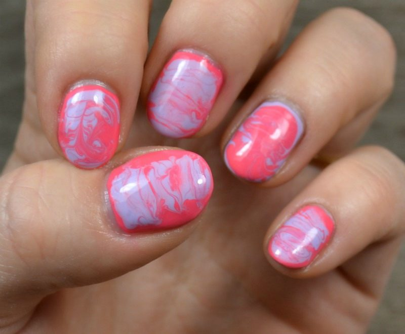 Pastel Lilac and Coral Dry Marble Nail Art