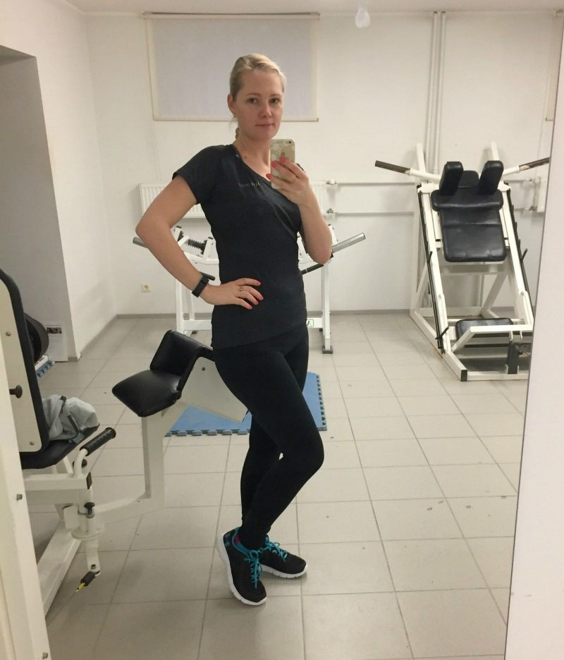 Yummie by Heather Thomson Lenox Leggings, ElleSport top, Under Armour running shoes