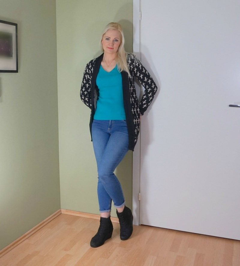 simple casual outfit cardigan jeans wedge booties