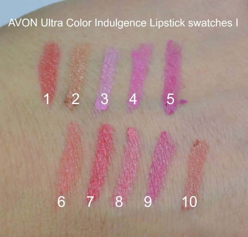 AVON Ultra Color Indulgence Lipstick swatches