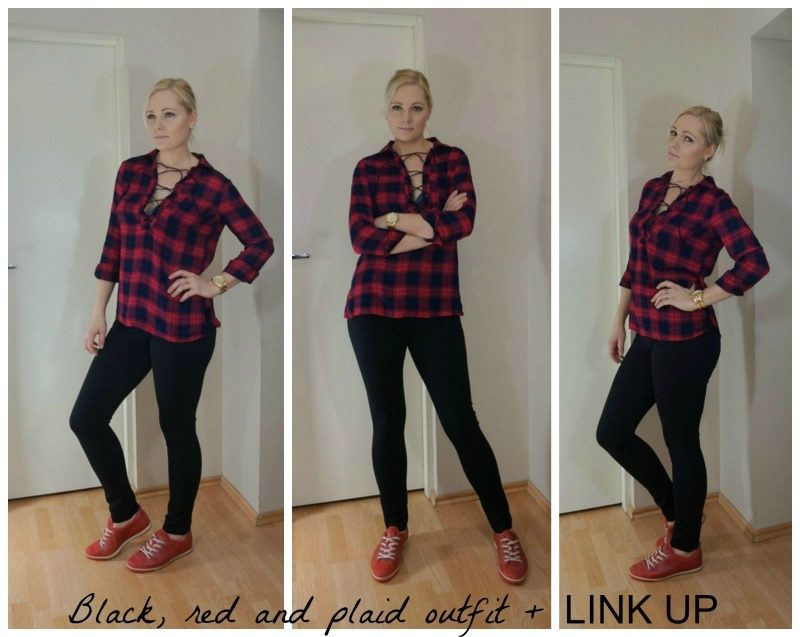 Black, red and plaid outfit + LINK UP