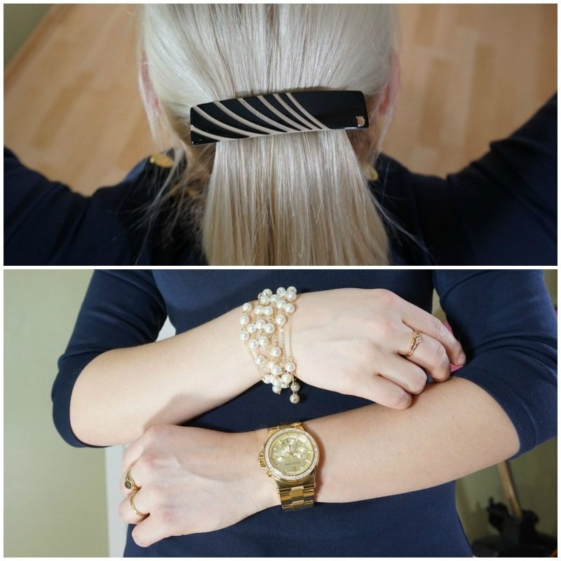 Dondella hair clip Michael Kors watch Juliet Company necklace