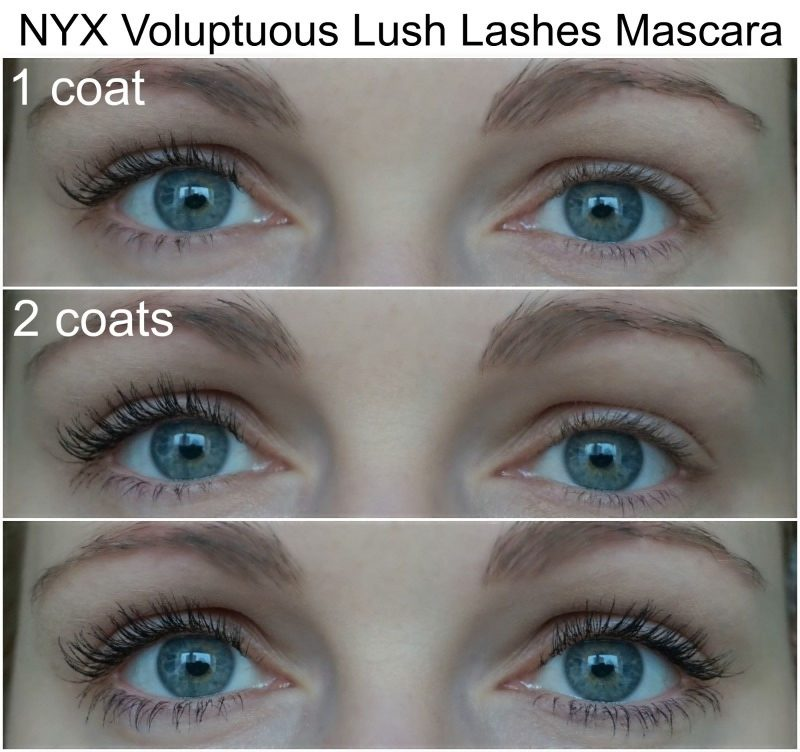 NYX Voluptuous Lush Lashes Mascara before after
