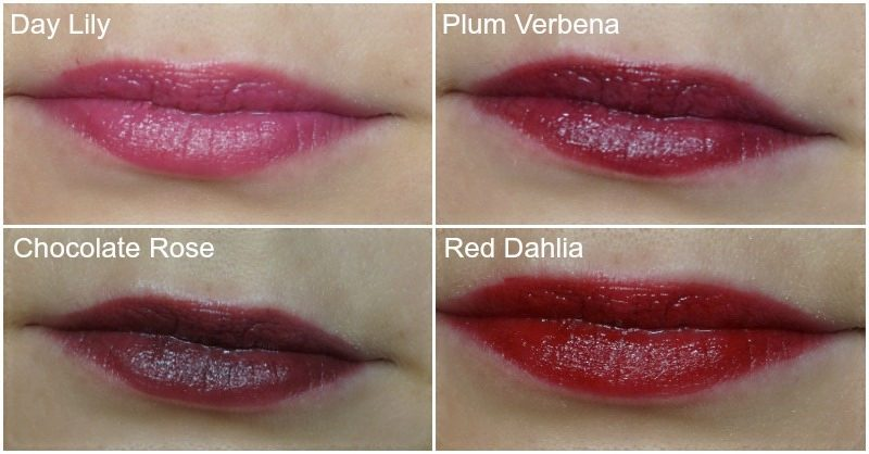 avon Ultra Color Indulgence Lipstick Day Lily, Plum Verbena, Chocolate Rose, Red Dahlia