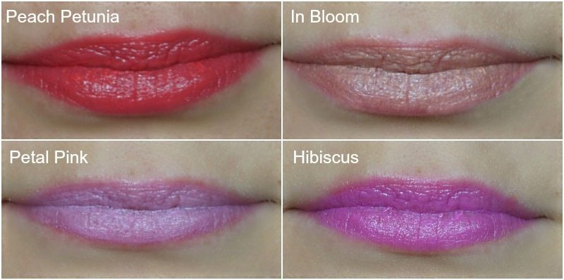 avon Ultra Color Indulgence Lipstick Peach Petunia, In Bloom, Petal Pink, Hibiscus