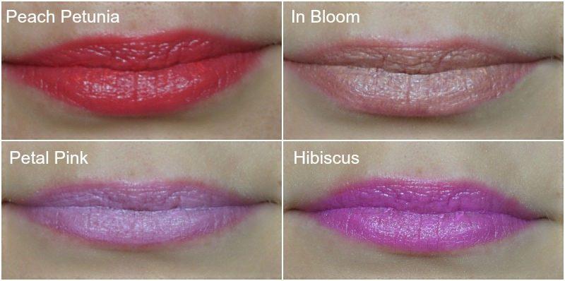 avon Ultra Color Indulgence Lipstick Peach Petunia, In Bloom, Petal Pink, Hibiscus