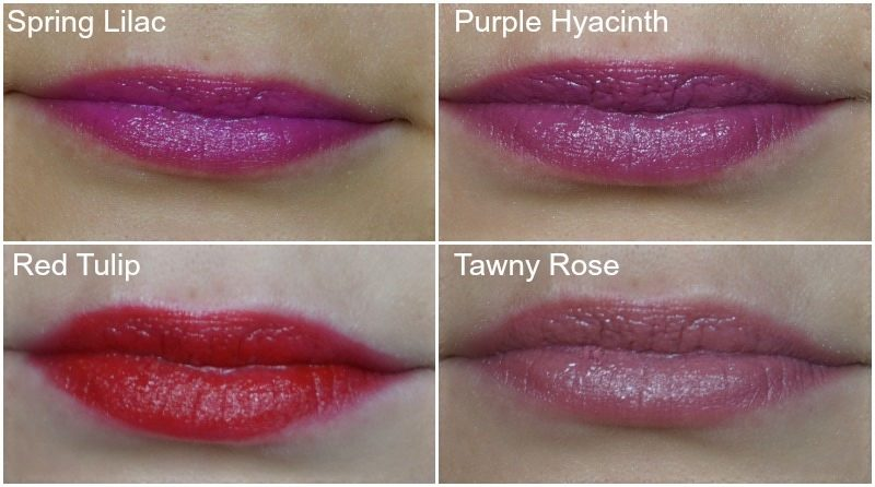 avon Ultra Color Indulgence Lipstick Spring Lilac, Purple Hyacinth, Red Tulip, Tawny Rose
