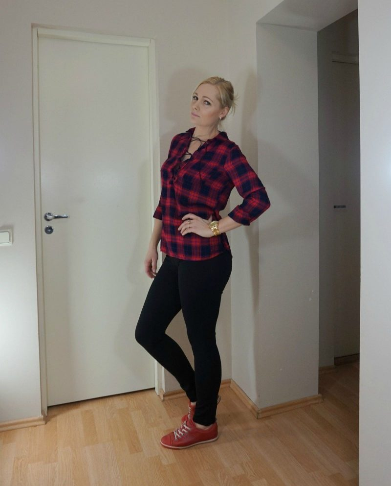 casual outfit featuring red plaid shirt, red shoes and black pants