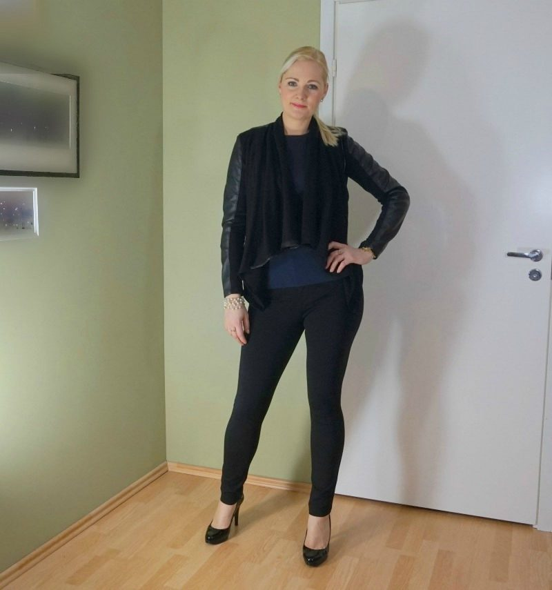 navy and black outfit