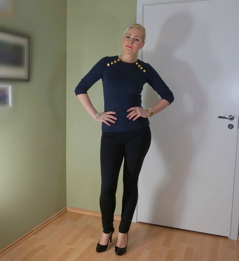 navy black gold outfit