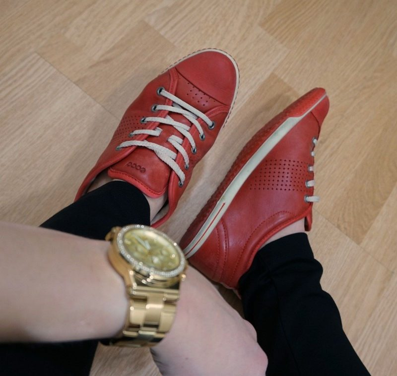 red ecco shoes and Michael Kors watch