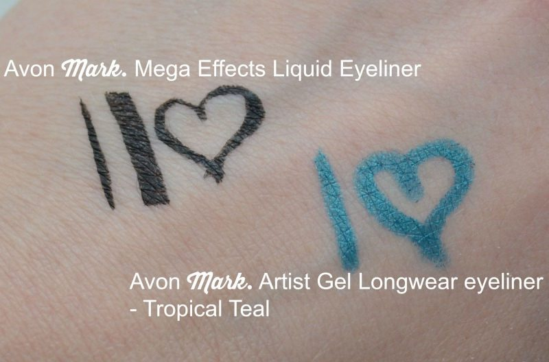 Avon Mark. Mega Effects Liquid Eyeliner in Black and Avon Mark. Artist Gel Longwear Eyeliner in Tropical Teal swatches