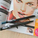 Avon Mark. Mega Effects Liquid Eyeliner in Black and Avon Mark. Artist Gel Longwear Eyeliner in Tropical Teal swatches and review
