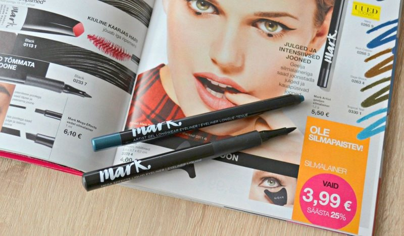 Avon Mark. Mega Effects Liquid Eyeliner in Black and Avon Mark. Artist Gel Longwear Eyeliner in Tropical Teal swatches and review