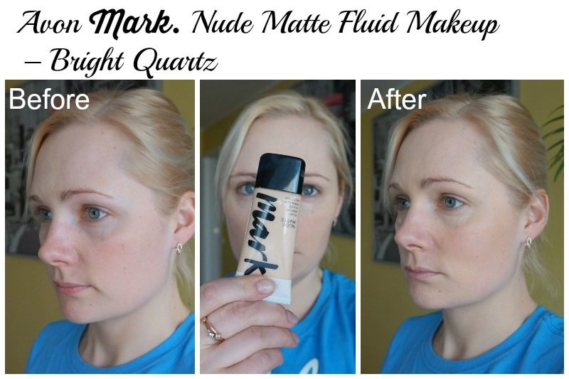 Avon Mark. Nude Matte Fluid Makeup – Bright Quartz before after