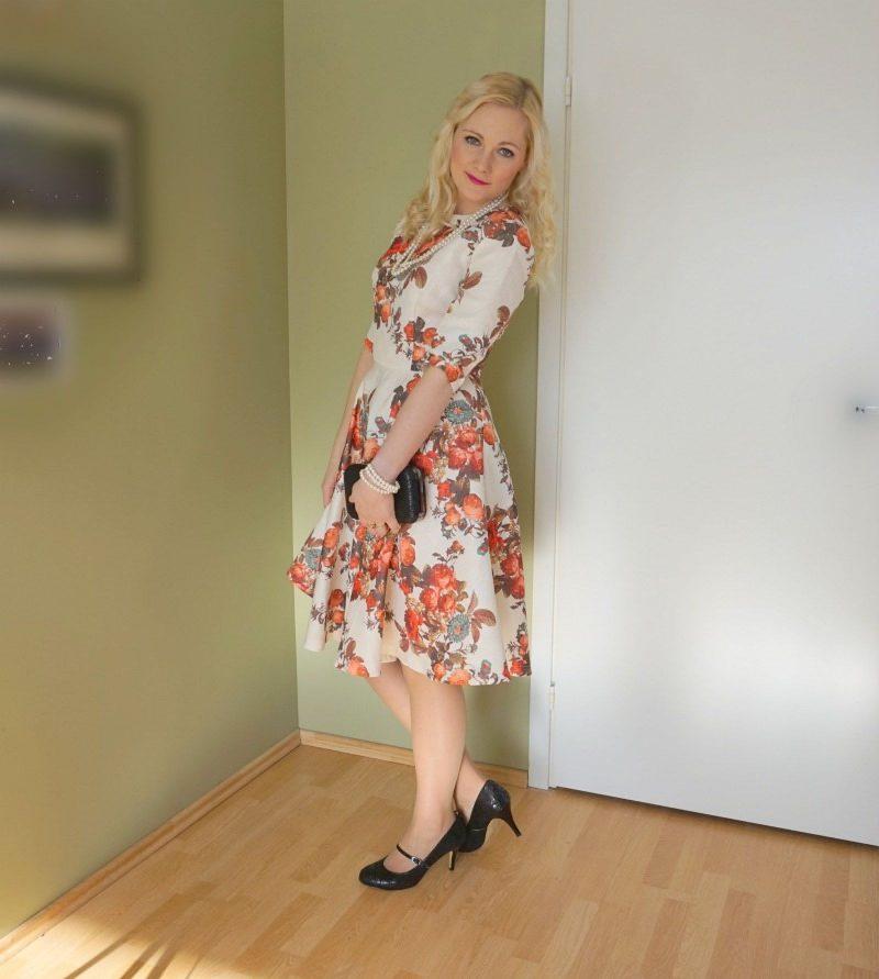 Chi Chi Caroline dress, Lotus Fuzina Black Floral Print Mary-Jane Shoes & Lotus Puffin Black Floral Print Clutch Bag