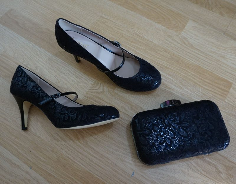 Lotus Fuzina Black Floral Print Mary-Jane Shoes & Lotus Puffin Black Floral Print Clutch Bag