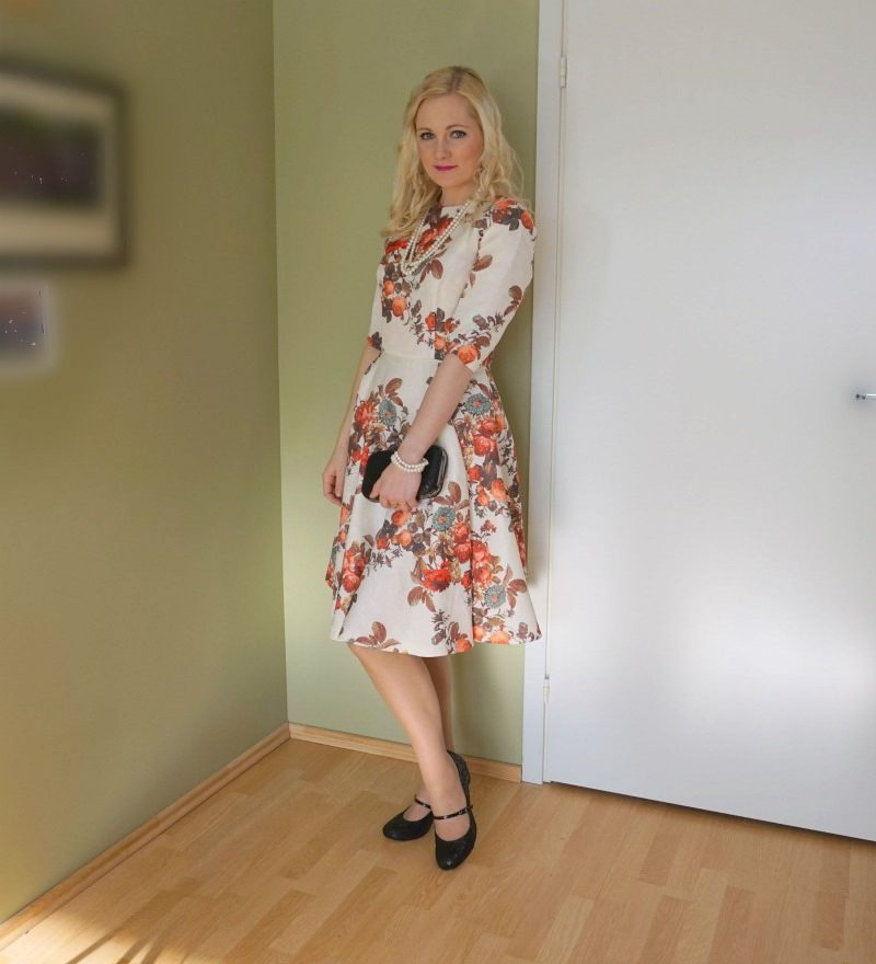 Lotus Mary-Jane shoes and floral dress