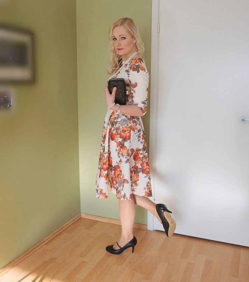 floral print cocktail dress and Mary-Jane shoes
